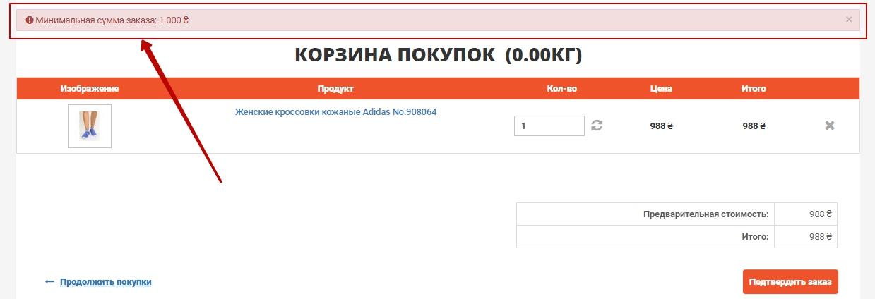 Возможность устанавливать ограничения на минимальную сумму заказа, Веб-студия NeoSeo